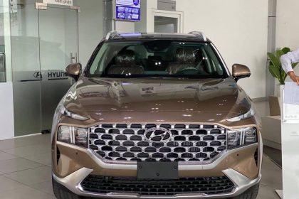 Hình ảnh Hyundai Santafe 2021 màu vàng cát (bản cao cấp)