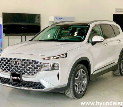 Hình ảnh Hyundai Santafe 2021 màu trắng (bản cao cấp)