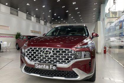 Hình ảnh Hyundai Santafe 2021 màu đỏ (bản cao cấp)