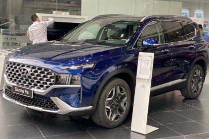 Hình ảnh Hyundai Santafe 2021 màu xanh (bản cao cấp)